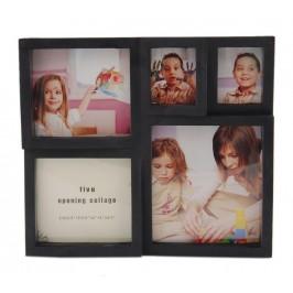 Черна мултирамка за 5 снимки, изработена от PVC материал и фронт стъкло