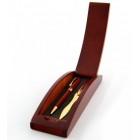 Луксозен комплект - писалка и нож за рязане на хартия в дървена кутия - 20х6см