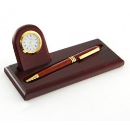 Луксозен подаръчен комплект за бюро от химикал часовник и поставка за химикала