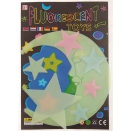 Комплект фосфоресциращи фигурки - луна и 6 броя звездички