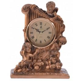 Декоративна фигурка с часовник - ангелчета върху лира