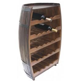 Декоративна поставка за вино - профил бъчва дърво, пет рафта с място за двадесет и три бутилки