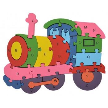 Дървен пъзел, състоящ се от 26 части с цифри и латински букви на гърба - локомотив