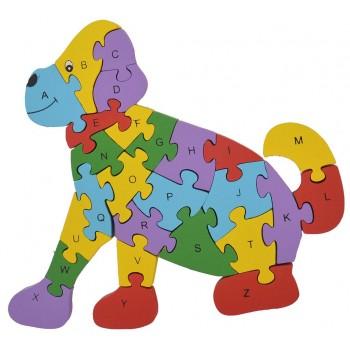 Дървен пъзел, състоящ се от 26 части с цифри и латински букви на гърба - куче