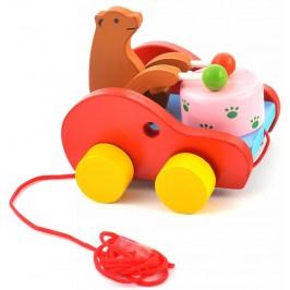 Сувенирна дървена фигурка - количка - мечка с барабан