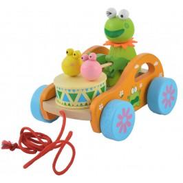 Сувенирна дървена фигурка - количка - жаба с барабан
