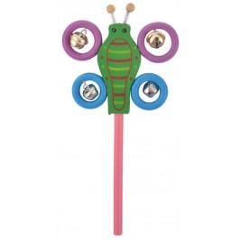 Сувенирна дървена фигурка - дрънкалка с метални звънчета - пеперуда