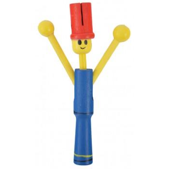 Сувенирна дървена фигурка - дрънкалка - човече с подвижна глава