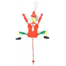 Дървена фигурка - Пинокио - за окачване, с подвижни крайници
