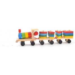 Дървено влакче от кубчета във формата на геометрични фигури