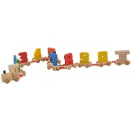 Детско дървено влакче с цифри