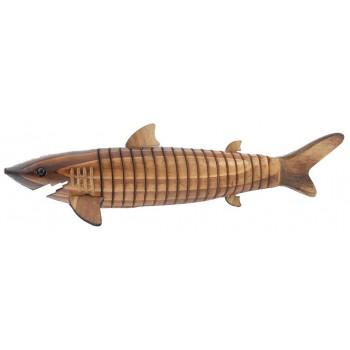 Сувенирна фигурка - акула гъвкава, изработена изцяло от дърво
