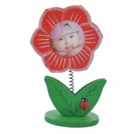 Сувенирна дървена фигурка - цвете щипка за бележки и мини рамка