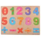 Дървен пъзел с отделни елементи - цифри и знаци