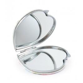 Сувенирно джобно огледало със закопчалка, изработено от изкуствена кожа и метал
