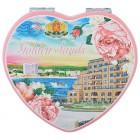 Сувенирно джобно огледало във формата на сърце, изработено от изкуствена кожа и метал