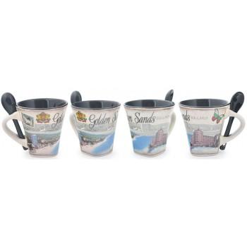 Сувенирна керамична чаша с лъжичка, декорирана със забележителности от Златни пясъци