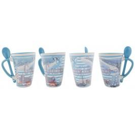Сувенирна керамична чаша - забележителности от Златни пясъци и морски мотиви
