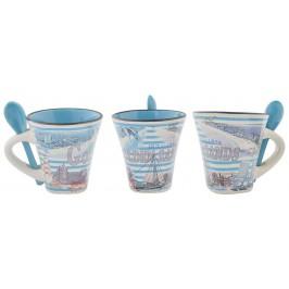 Сувенирна керамична чаша с лъжичка - забележителности от Златни пясъци и морски мотиви