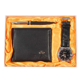 Подаръчен комплект от портфейл, часовник и химикал