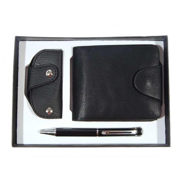 Подаръчен комплект от портфейл, кожен ключодържател и химикал