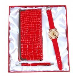 Подаръчен комплект от кожено портмоне, часовник и химикал
