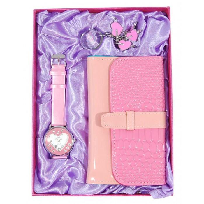 Малък подаръчен комплект от портмоне, ключодържател и часовник