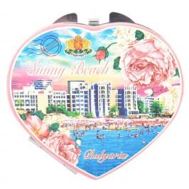 Сувенирно джобно огледало във формата на сърце, декорирано с изглед на плажната ивица и хотели от Слънчев бряг