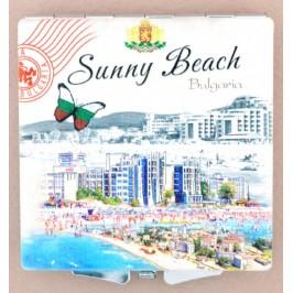 Сувенирно джобно огледало, декорирано с изгледи на хотели от Слънчев бряг