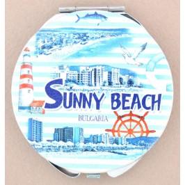 Сувенирно джобно огледало, декорирано с изгледи на хотели от Слънчев бряг и морски мотиви