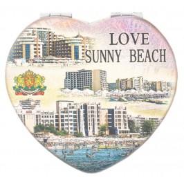 Сувенирно джобно огледало във формата на сърце, декорирано с изгледи на хотели от Слънчев бряг
