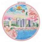 Сувенирно джобно огледало, декорирано с изглед от Слънчев бряг - плажна ивица с хотели