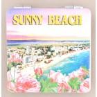 Сувенирно джобно огледало със закопчалка, декорирано с изглед на плажната ивица и хотели от Слънчев бряг
