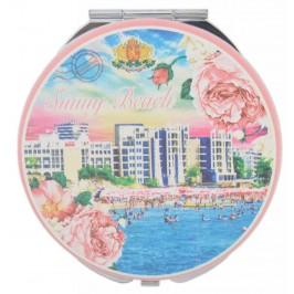 Сувенирно джобно огледало, декорирано с изгледи от Слънчев бряг