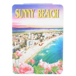 Сувенирно джобно огледало, декорирано с изглед на плажната ивица и хотели от Слънчев бряг