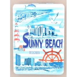 Сувенирно джобно огледало, декорирано с изглед на плажната ивица и хотели от Слънчев бряг и морски мотиви