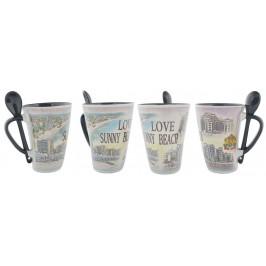 Сувенирна керамична чаша с лъжичка - хотели и крайбрежна ивица от Слънчев бряг