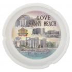 Сувенирен керамичен пепелник с лазерна графика - хотели и плажна ивица от Слънчев бряг