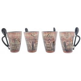 Сувенирна чаша с лъжичка от керамика - забележителности от София