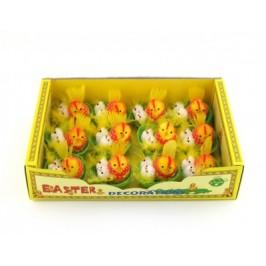 Декоративни фигурки Великденски пиленца и кокошка в кошничка - 4см