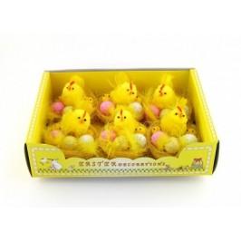Декоративни фигурки Великденски пиленца с яйца в кошничка - 6см