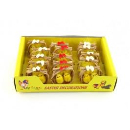 Декоративни фигурки Великденски пиленца в плетена люлка - 6см