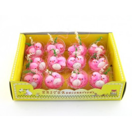 Декоративни фигурки Великденски пиленца в метална кошничка - 5см