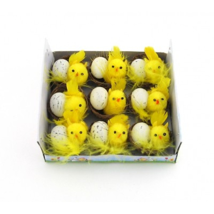 Декоративно пиленце с яйце в кошничка