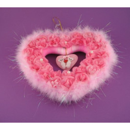 Декоративно сърце сатен и пух - 27см