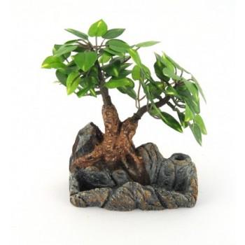 Декоративно мини дърво от плат върху аранжирана каменна поставка