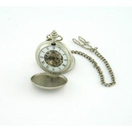 Джобен часовник с две капачета и верижка метал - ретро дизайн