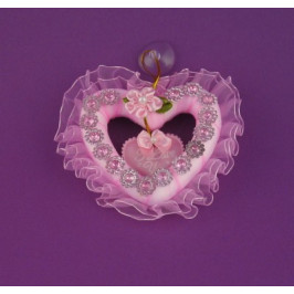 Декоративно сърце сатен и дантела - 8см