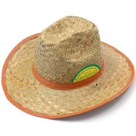 Плетена лятна шапка с кожен кант