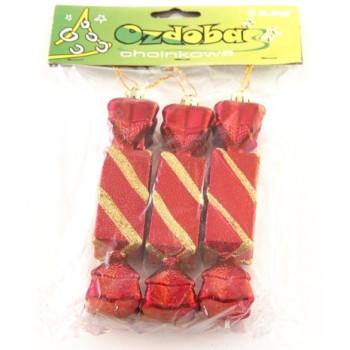 Комплект разноцветни коледни бонбони за окачване на елха